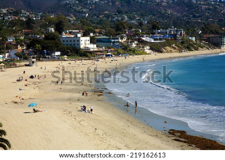 The World Famous, Laguna Beach is a seaside resort city located in southern Orange County, California, United States. Settled in the 1870s, founded in 1887 and incorporated in 1927. Everyone Loves LB - stock photo