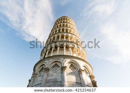 The world famous leaning Tower of Pisa - stock photo