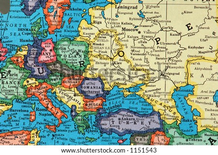 The world is flat...european section - stock photo