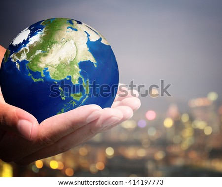 The world is on hold for the city bokeh blur background.  Tomorrow Today Dismay Nervousness Loneliness Yesterday  Tlc Johannesburg Perspective  Wooden  Planet Elements of this image furnished by NASA. - stock photo
