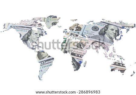 The world map made with dollar bills. Isolated on white background - stock photo