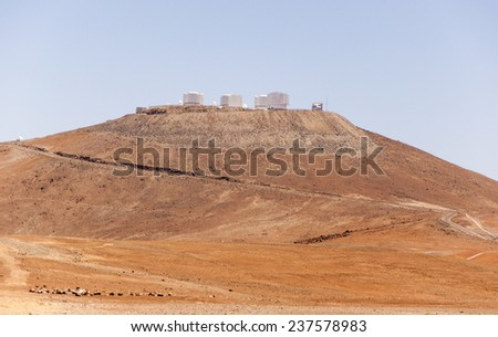 The world most powerful telescops of the European Southern Oberservatory - stock photo