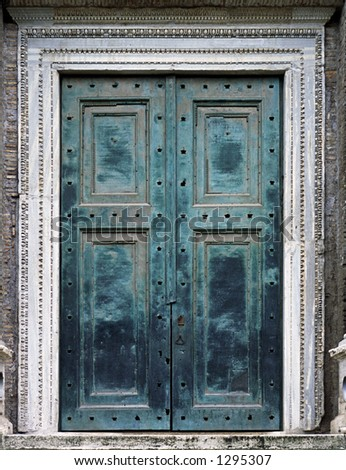 The world's oldest bronze doors - stock photo