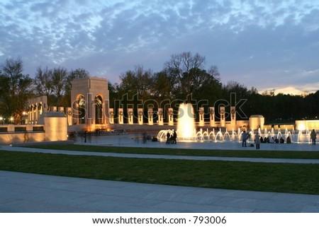 The World War II Monument in Washington, DC at night. - stock photo