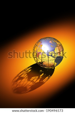 The world with long shadow - stock photo