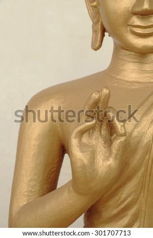The worship image buddha in Lao temple. - stock photo