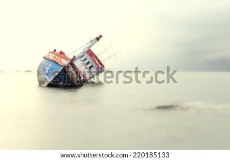The wrecked ship, Thailand - stock photo
