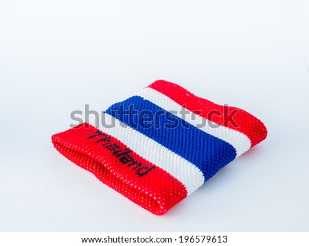 the wristband have colorful made of a towel-like terrycloth material. These are usually used to wipe sweat from the forehead during sport, or as a badge or fashion statement. - stock photo