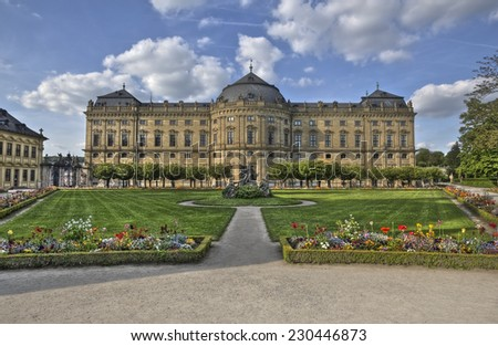 The Wurzburg Residence building and formal garden in Wurzburg, Germany - stock photo