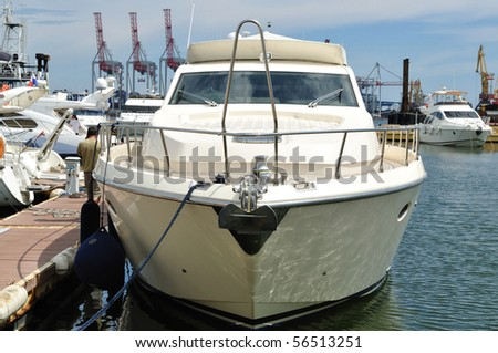The yacht is the berth for loading - stock photo