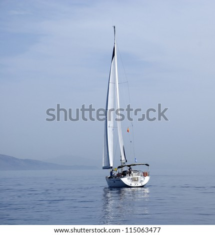 The Yacht on the Mediterranean Sea at coast of Greece. at coast of Greece. - stock photo