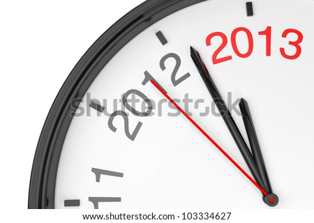 The year 2013 is approaching. 2013 sign with a clock on a white background - stock photo