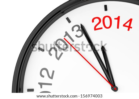 The year 2014 is approaching. 2014 sign with a clock on a white background - stock photo