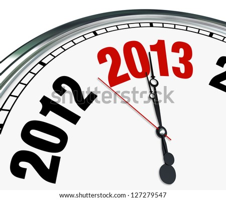 The year 2013 is quickly approaching according to this white clock with hands pointing to the number for the new year - stock photo