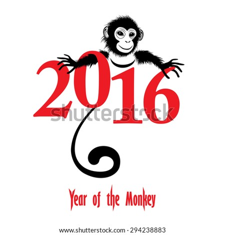 The year of monkey Chinese symbol calendar in red on figures illustration. Chinese new year 2016 (Monkey year) .  Raster version. - stock photo