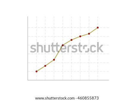 The yellow line and red dots of business graph. - stock photo