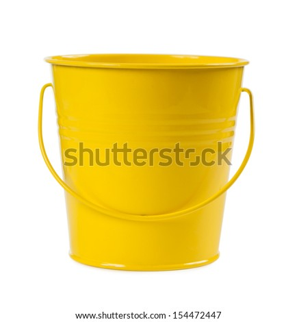 The yellow metal bucket isolated on a white background - stock photo