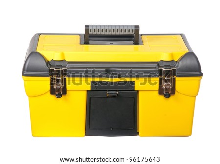 The yellow, plastic tool box. Isolated. - stock photo