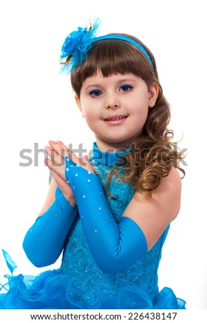 The young beautiful girl in an evening dress of princess - stock photo