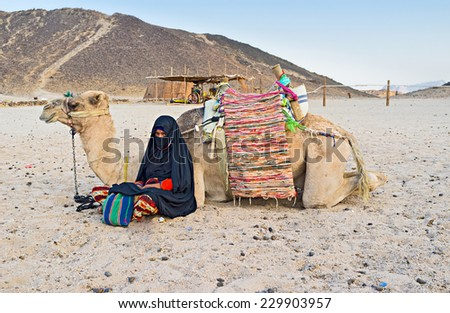The young cameleer and her camel sit on the sand and enjoy the evening after the long hot day, Sahara, Egypt. - stock photo
