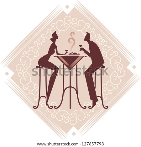 The young couple is having a dinner. Decorative background. Raster image. Find editable version in my portfolio. - stock photo