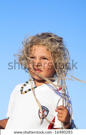 The young football player of the English team - stock photo