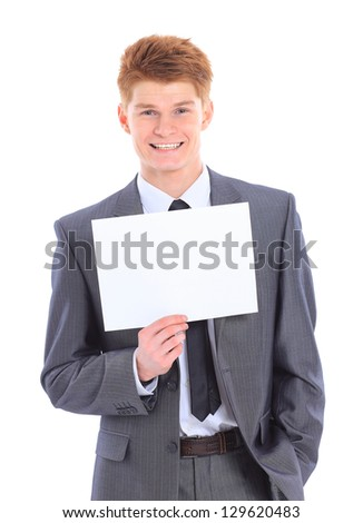 The young handsome businessman isolated on a white background. - stock photo