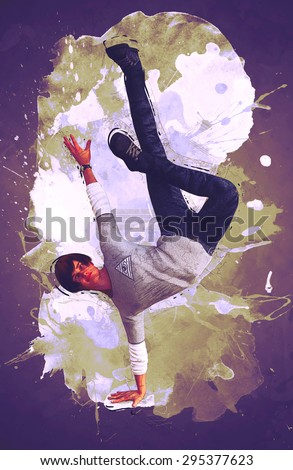 The young man dancing - stock photo