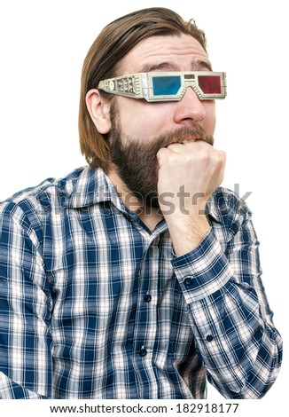 the young man, looks through stereo glasses - stock photo