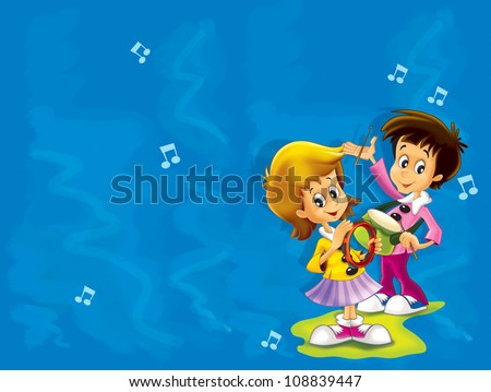 The young musicians composing, playing and singing - illustration for the kids - valentines - good for postcard - stock photo