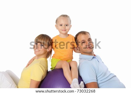 The young sports family spends time together - stock photo