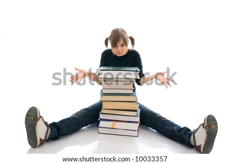The young student with the book isolated on a white background - stock photo