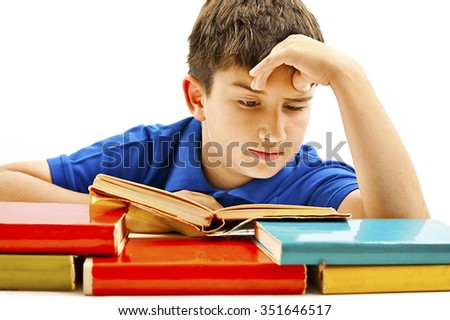 The young student with the books. Isolated on a white background - stock photo