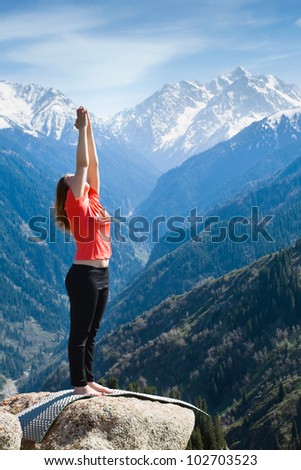 The young woman is doing a yoga - stock photo