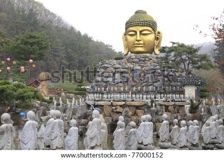 The Yunwha Mountain, Wawoo Jeongsa Temple, South Korea - stock photo