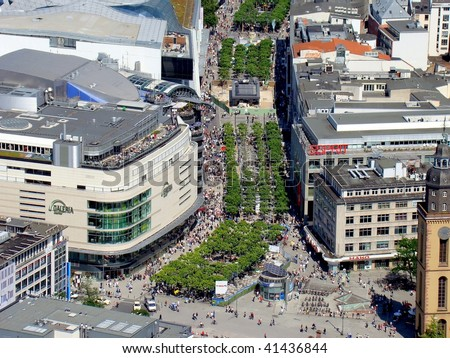 The Zeil, seen from the Maintower in Frankfurt am Main, Germany - stock photo