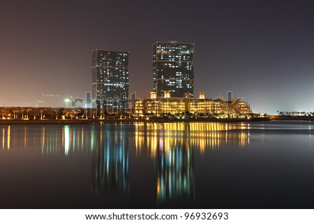 The Zig Zag Towers at night. Doha, Qatar, Middle East - stock photo