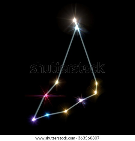 the zodiac sign forming from the twinkle bright stars background - stock photo