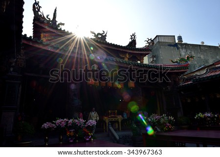 Thean Hou Temple in the morning sunny - stock photo