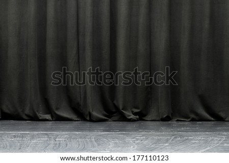 theater black curtain and floor - stock photo