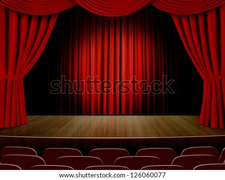 Theater curtains  and read seats - stock photo