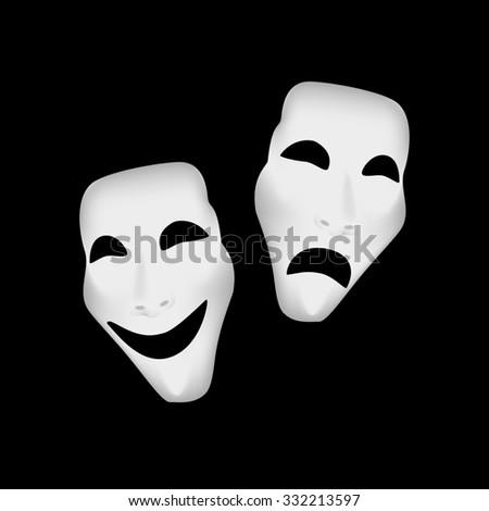 Theater masks, theater masks isolated, theater masks raster - stock photo
