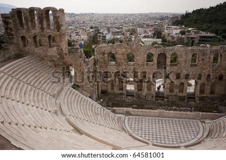 Theater of Dionysus ruins, Acropolis, Athens, Greece - stock photo