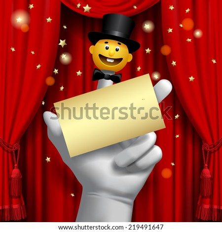 Theater poster with a human hand with a yellow smiled puppet head in a black top hat on the red curtain. Contain the detailed Clipping Path of finger puppet - stock photo