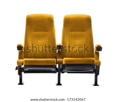 theater seat isolated on white background, movie seat - stock photo