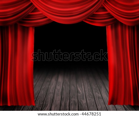 Theater Stage and red Curtain - stock photo