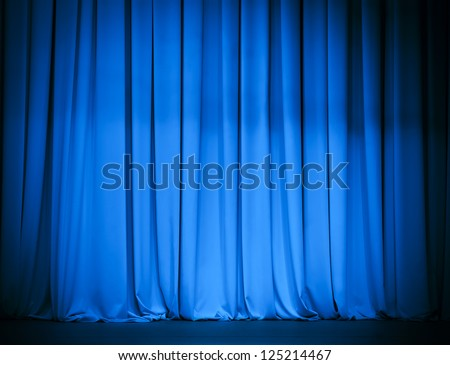 theater stage blue curtain - stock photo