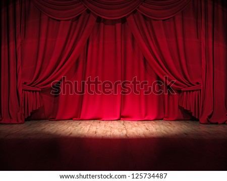 Theater stage red curtains Show Spotlight - stock photo