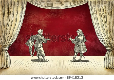 Theater stage with actors - stock photo