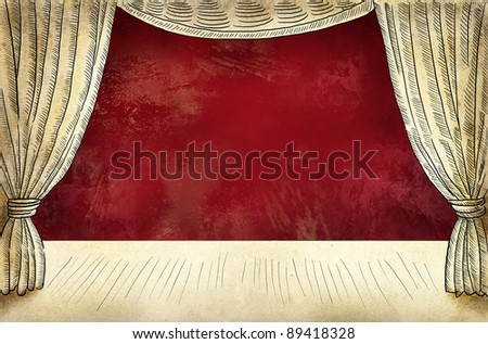 Theater stage with curtain - stock photo